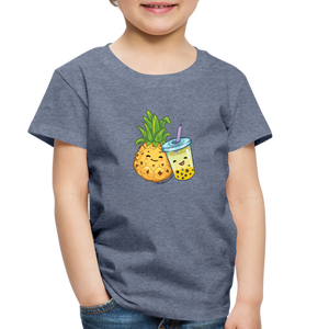 Toddler Pineapple & Boba Tea Shirt | Toddler Boba Shirt - heather blue