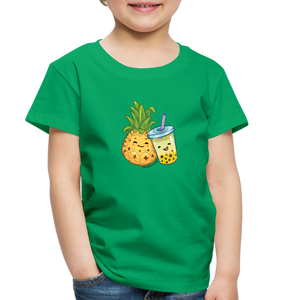 Toddler Pineapple & Boba Tea Shirt | Toddler Boba Shirt - kelly green