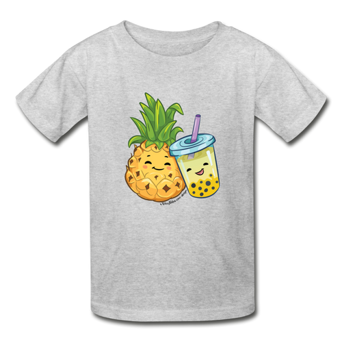Kids Youth Pineapple & Boba Tea Shirt | Kids Boba Shirt | Youth Tagless T-Shirt - heather gray