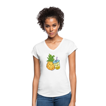 Load image into Gallery viewer, Pineapple & Boba Tea Women's Tri-Blend V-Neck T-Shirt - white