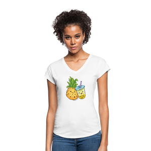 Pineapple & Boba Tea Women's Tri-Blend V-Neck T-Shirt - white