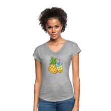 Load image into Gallery viewer, Pineapple & Boba Tea Women's Tri-Blend V-Neck T-Shirt - heather gray