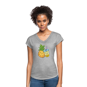 Pineapple & Boba Tea Women's Tri-Blend V-Neck T-Shirt - heather gray