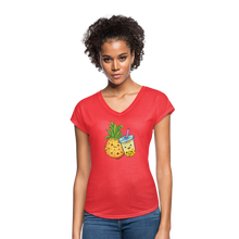 Load image into Gallery viewer, Pineapple & Boba Tea Women's Tri-Blend V-Neck T-Shirt - heather red