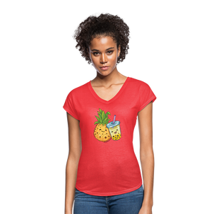 Pineapple & Boba Tea Women's Tri-Blend V-Neck T-Shirt - heather red