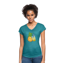 Load image into Gallery viewer, Pineapple & Boba Tea Women's Tri-Blend V-Neck T-Shirt - heather turquoise