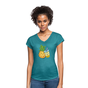 Pineapple & Boba Tea Women's Tri-Blend V-Neck T-Shirt - heather turquoise
