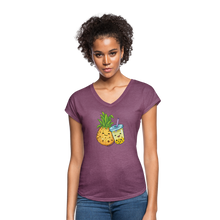 Load image into Gallery viewer, Pineapple & Boba Tea Women's Tri-Blend V-Neck T-Shirt - heather plum