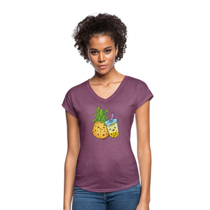 Pineapple & Boba Tea Women's Tri-Blend V-Neck T-Shirt - heather plum