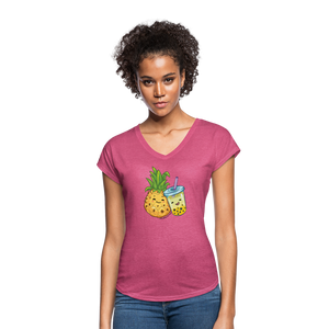Pineapple & Boba Tea Women's Tri-Blend V-Neck T-Shirt - heather raspberry
