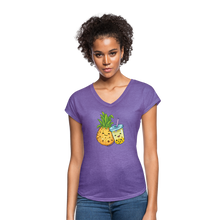 Load image into Gallery viewer, Pineapple & Boba Tea Women's Tri-Blend V-Neck T-Shirt - purple heather
