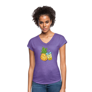 Pineapple & Boba Tea Women's Tri-Blend V-Neck T-Shirt - purple heather