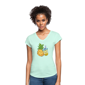 Pineapple & Boba Tea Women's Tri-Blend V-Neck T-Shirt - mint