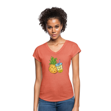 Load image into Gallery viewer, Pineapple & Boba Tea Women's Tri-Blend V-Neck T-Shirt - heather bronze