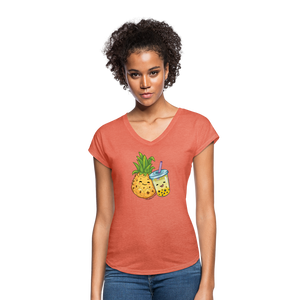 Pineapple & Boba Tea Women's Tri-Blend V-Neck T-Shirt - heather bronze