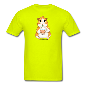 Men's & Unisex Guinea Pig Drinking Boba Classic T-Shirt - safety green
