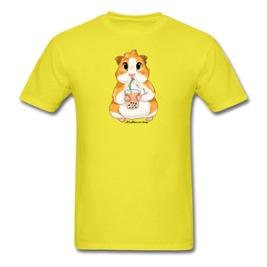 Men's & Unisex Guinea Pig Drinking Boba Classic T-Shirt - yellow