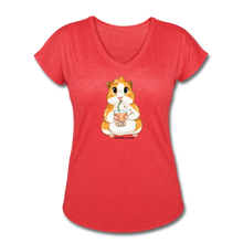 Load image into Gallery viewer, Guinea Pig Drinking Boba Tea Shirt | Boba Tea Shirt | Women's Tri-Blend V-Neck T-Shirt - heather red