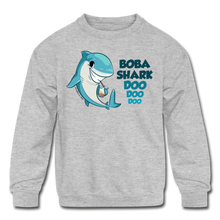 Load image into Gallery viewer, Boba Shark Kids' Crewneck Sweatshirt | Funny Boba Shark Sweatshirt - heather gray