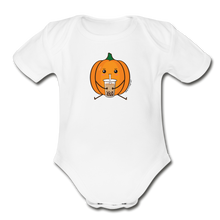 Load image into Gallery viewer, Halloween Boba Onesie | Pumpkin Bubble Tea Baby Outfit | Halloween Bubble Tea Organic Short Sleeve Baby Bodysuit - white