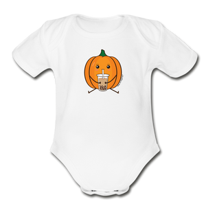 Halloween Boba Onesie | Pumpkin Bubble Tea Baby Outfit | Halloween Bubble Tea Organic Short Sleeve Baby Bodysuit - white