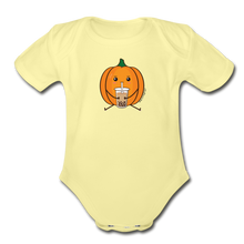 Load image into Gallery viewer, Halloween Boba Onesie | Pumpkin Bubble Tea Baby Outfit | Halloween Bubble Tea Organic Short Sleeve Baby Bodysuit - washed yellow