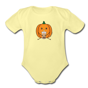 Halloween Boba Onesie | Pumpkin Bubble Tea Baby Outfit | Halloween Bubble Tea Organic Short Sleeve Baby Bodysuit - washed yellow