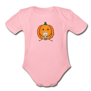 Halloween Boba Onesie | Pumpkin Bubble Tea Baby Outfit | Halloween Bubble Tea Organic Short Sleeve Baby Bodysuit - light pink