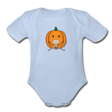 Load image into Gallery viewer, Halloween Boba Onesie | Pumpkin Bubble Tea Baby Outfit | Halloween Bubble Tea Organic Short Sleeve Baby Bodysuit - sky