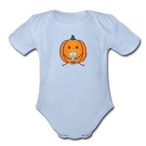 Halloween Boba Onesie | Pumpkin Bubble Tea Baby Outfit | Halloween Bubble Tea Organic Short Sleeve Baby Bodysuit - sky