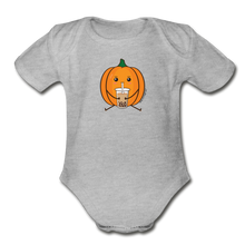 Load image into Gallery viewer, Halloween Boba Onesie | Pumpkin Bubble Tea Baby Outfit | Halloween Bubble Tea Organic Short Sleeve Baby Bodysuit - heather gray