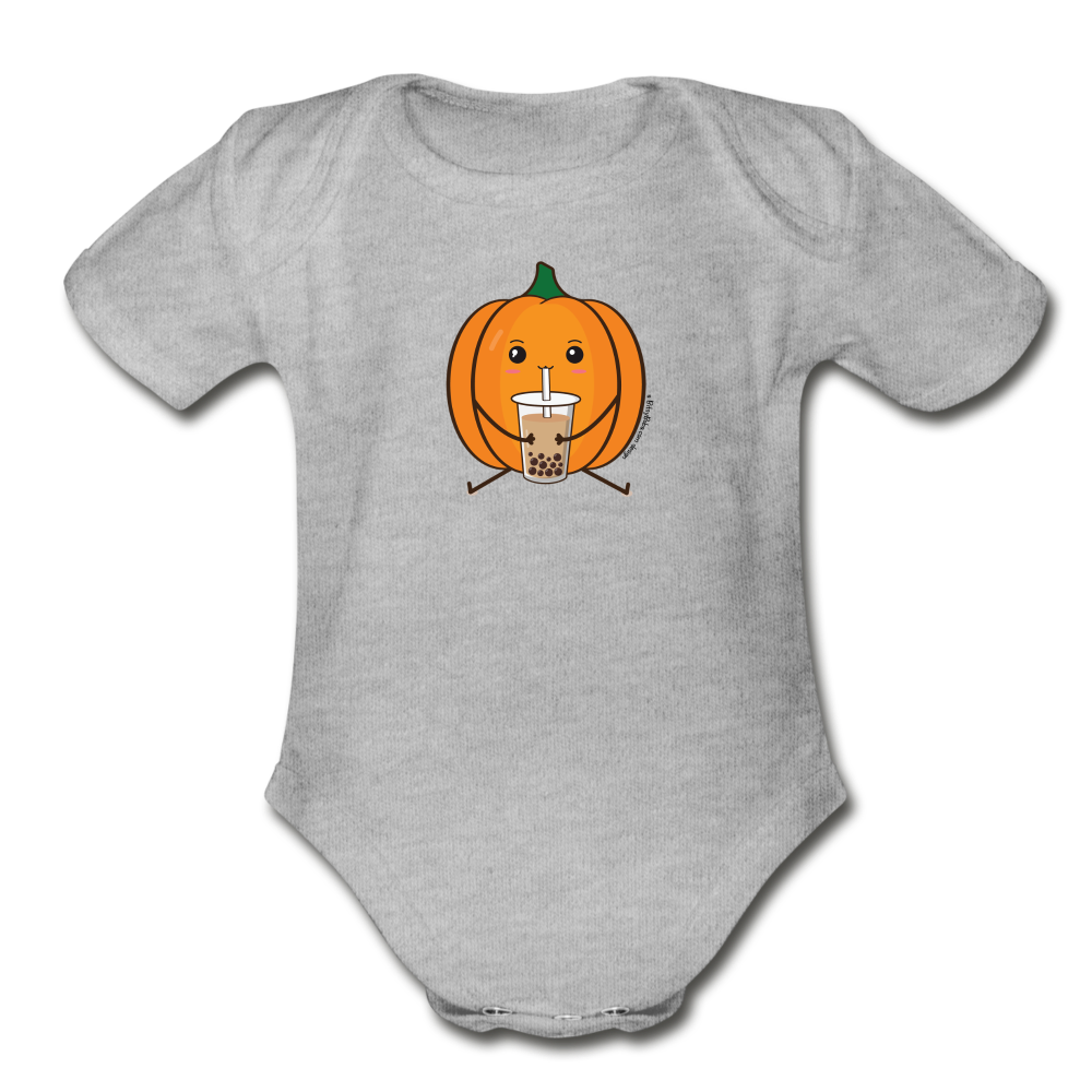 Halloween Boba Onesie | Pumpkin Bubble Tea Baby Outfit | Halloween Bubble Tea Organic Short Sleeve Baby Bodysuit - heather gray