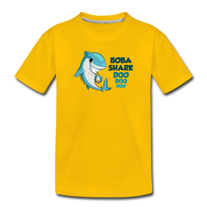 Boba Shark Doo, Doo, Doo Funny Boba Shirt Inspired by Baby Shark  | Toddler Premium T-Shirt - sun yellow