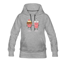 Load image into Gallery viewer, Boba Cupcake Women's Premium Hoodie - heather gray