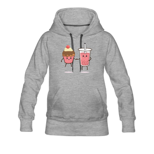 Boba Cupcake Women's Premium Hoodie - heather gray
