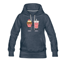 Load image into Gallery viewer, Boba Cupcake Women's Premium Hoodie - heather denim