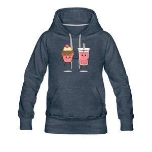 Boba Cupcake Women's Premium Hoodie - heather denim