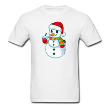 Load image into Gallery viewer, Boba Snowman Men's Unisex Classic T-Shirt | Bubble Tea Christmas Shirt - white