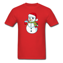 Load image into Gallery viewer, Boba Snowman Men's Unisex Classic T-Shirt | Bubble Tea Christmas Shirt - red
