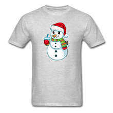 Load image into Gallery viewer, Boba Snowman Men's Unisex Classic T-Shirt | Bubble Tea Christmas Shirt - heather gray