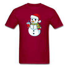 Load image into Gallery viewer, Boba Snowman Men's Unisex Classic T-Shirt | Bubble Tea Christmas Shirt - dark red