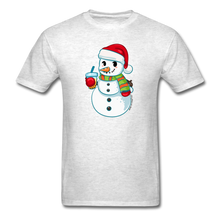 Load image into Gallery viewer, Boba Snowman Men's Unisex Classic T-Shirt | Bubble Tea Christmas Shirt - light heather gray