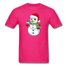 Load image into Gallery viewer, Boba Snowman Men's Unisex Classic T-Shirt | Bubble Tea Christmas Shirt - fuchsia
