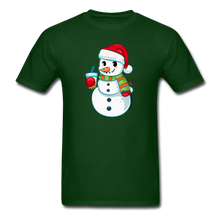 Load image into Gallery viewer, Boba Snowman Men's Unisex Classic T-Shirt | Bubble Tea Christmas Shirt - forest green