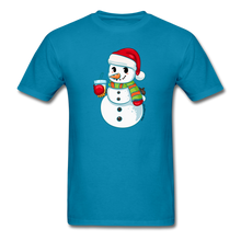 Load image into Gallery viewer, Boba Snowman Men's Unisex Classic T-Shirt | Bubble Tea Christmas Shirt - turquoise