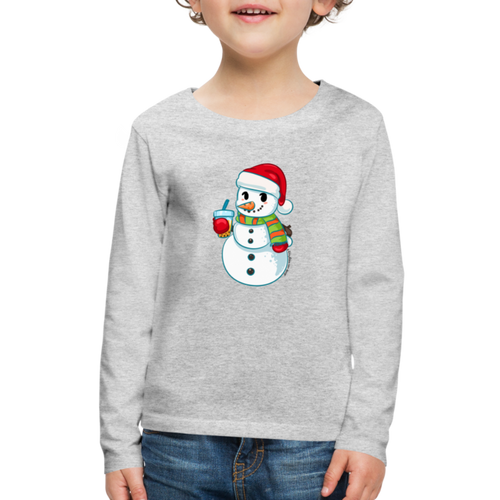 Boba Snowman Kids' Premium Long Sleeve T-Shirt - heather gray