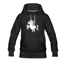Load image into Gallery viewer, Unicorn Boba Women's Premium Hoodie | Bubble Tea Unicorn Hoodie - black