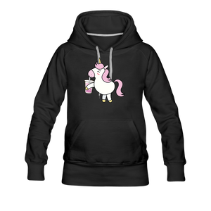 Unicorn Boba Women's Premium Hoodie | Bubble Tea Unicorn Hoodie - black