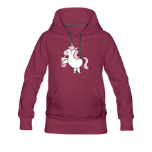 Load image into Gallery viewer, Unicorn Boba Women's Premium Hoodie | Bubble Tea Unicorn Hoodie - burgundy