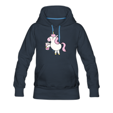 Load image into Gallery viewer, Unicorn Boba Women's Premium Hoodie | Bubble Tea Unicorn Hoodie - navy